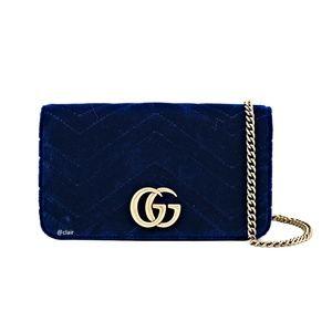 Gucci Mini Marmont Gg 2.0 Matelassé Cobalt Velvet